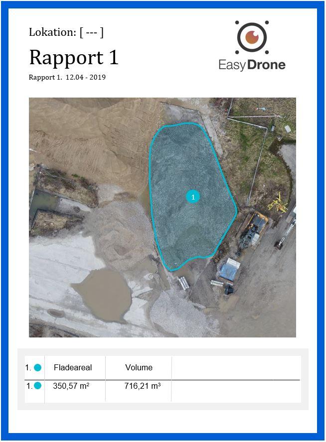 Dronekort rapport volumemål 3D drone model dybde bakke